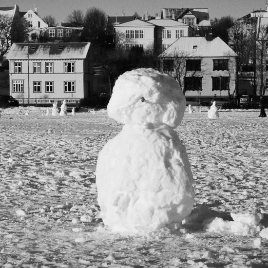 Snowmen on Tjörnin, Reykjavík 2015